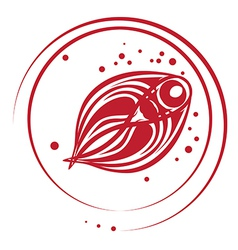 fish stamp vector image vector image
