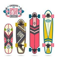 Set of prints on longboard vector