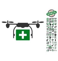 Ambulance Drone Icon With Bonus vector image vector image