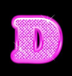D letter pink bling girly vector