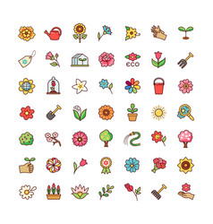 flowers icons set vector image