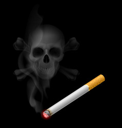 human scull appears in cigarette smoke on black vector image vector image