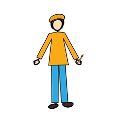 painter cartoon icon image vector image