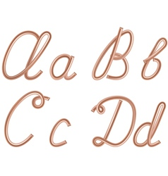 A B C D Letters Metal Copper Wire vector image