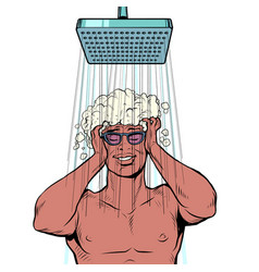 A black man washes his hair in the shower vector
