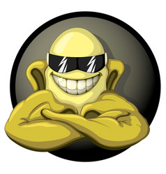 a cool cartoon banana muscular jock vector image