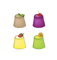 A set of brightly colored transparent fruit jelly vector