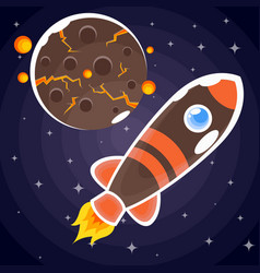 a sticker of a brown rocket with orange stripes vector image