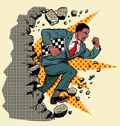 African chess grandmaster breaks a wall destroys vector