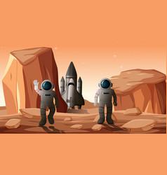 Astronauts on planet scene vector