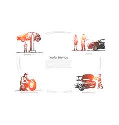auto service - ordering scanning car vector image