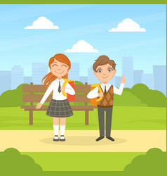 back to school cute smiling elementary school vector image