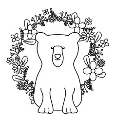 bear grizzly with floral decoration bohemian style vector image
