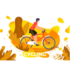 bicycle riding man in park vector image