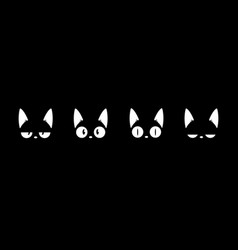 black cats head face silhouette icon set vector image