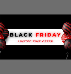 black friday sale poster with red and vector image
