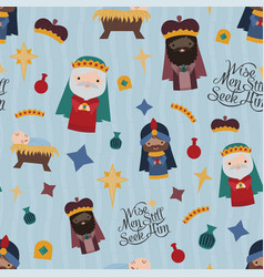 blue nativity three wise men seamless vector image