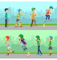 Boys Skateboarding and Girls Roller Skating vector image