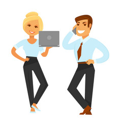 Businesspeople in formal clothes with devices vector