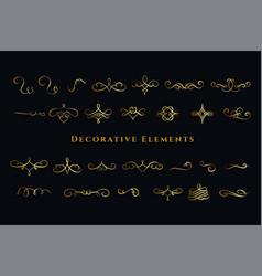 calligraphic swirls ornaments decorations big set vector image