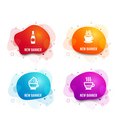 Cappuccino cream beer bottle and tea cup icons vector