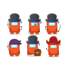 Cartoon character among us orange with various vector