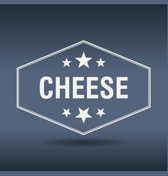 Cheese hexagonal white vintage retro style label vector