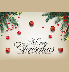 christmas background with fir tree branches vector image