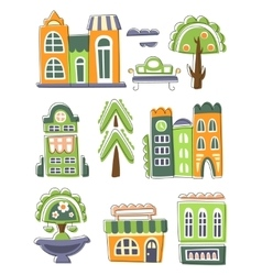 City Buildings And Other Elements Creative Design vector