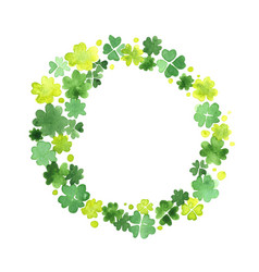 Clover leaf wreath watercolor hand painting vector