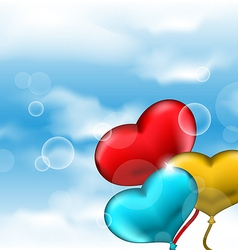 Collection glossy hearts balloons for Valentine vector