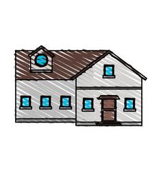 Color crayon stripe cartoon facade big comfortable vector
