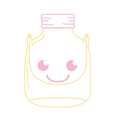 Color line smile mason glass kawaii with wire vector