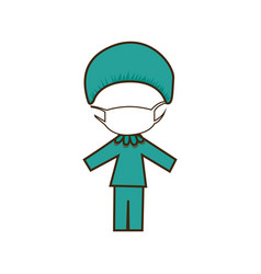 colorful caricature doctor costume profession vector image