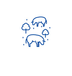 cows in field line icon concept cows in field vector image