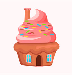 Cupcake house with chimney on creamy roof vector