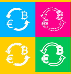 currency exchange sign euro and bitkoin four vector image