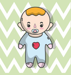 Cute baby boy with hairstyle vector