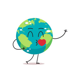 cute earth character blows kiss cartoon mascot vector image