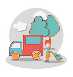 Delivery man with truck and packages in the vector