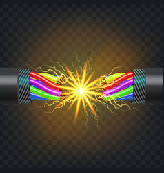 electric break cable electrical circuit vector image