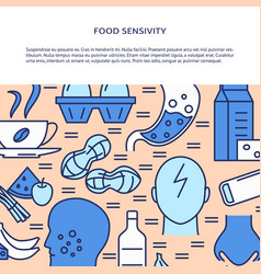 food sensivity banner template in colored line vector image