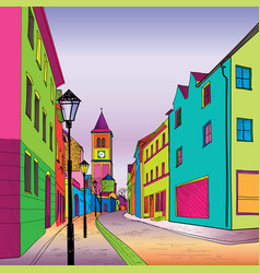 Funky journey pedestrian street in european city vector