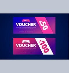 gift vouchers with modern gradient style for vector image