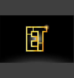Gold black alphabet letter et e t logo vector