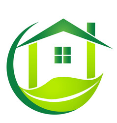 Green house with leaf business logo vector