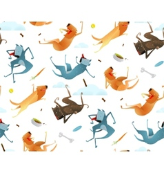 Happy Dogs and Doggy Food Seamless Pattern vector image