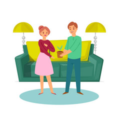 happy family young couple with plant and sofa vector image