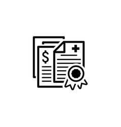 Health insurance policy icon flat design vector