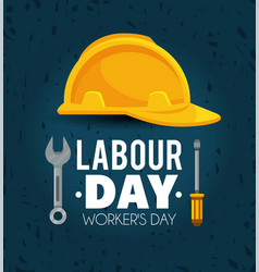 Helmet with screwdriver and wrench to labour day vector